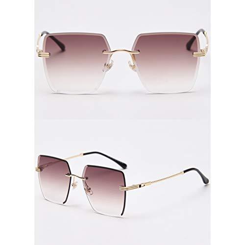 SXRAI Gafas de Sol con Montura Cuadrada sin Montura para Mujer, Gafas de Sol de Moda para Hombre Verde marrón para Mujer Uv400,C5
