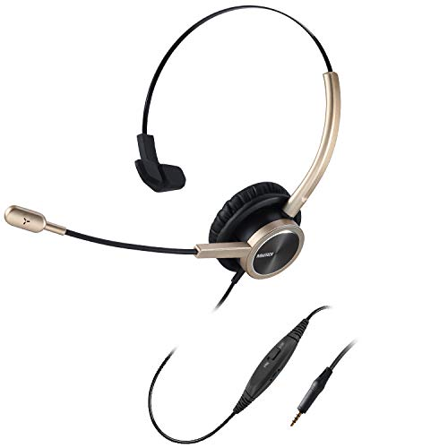 MAIRDI Cell Phone Headset with Nosie Canceling Microphone Mono 3.5mm Jack Headset with Mic Mute Volume Control for Mobiles iPhone Samsung BlackBerry Androids