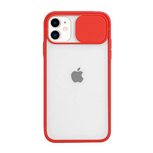 Funda Mate Compatible con iPhone 12 Pro MAX Carcasa con Tapa Deslizable para Cámara Bordes de TPU Suave Antirrayas A Prueba de Golpes Ultra Fina Transparente Back Cover,Rojo,12 Pro MAX