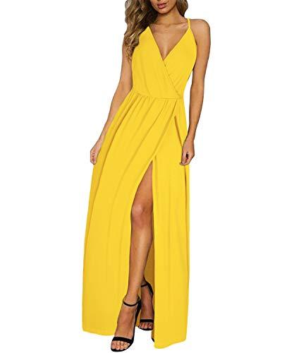 II ININ Women's Deep V-Neck Casual Long Dress Summer Beach Backless Slit Maxi Dress for Wedding Guest(Yellow,M)