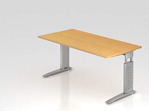 Schreibtisch C-Fuß 160x80cm Buche/Silber