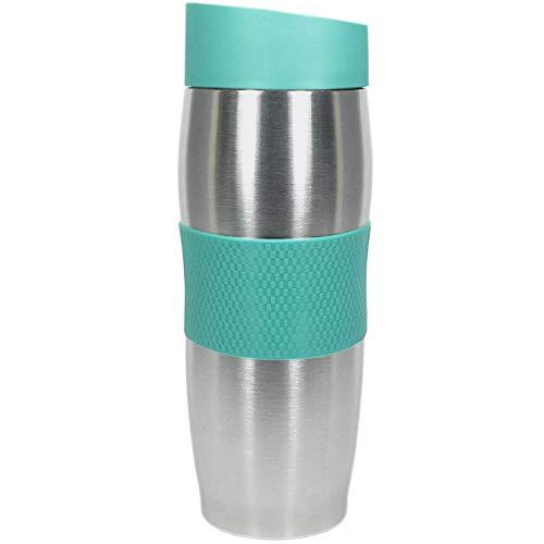 Thermobecher | Isolierbecher für Kaffee, Tee | 380 ml | doppelwandiger Edelstahl | Easy-Click Druckknopf Verschluss | Manschette und Standboden rutschfest | (türkis)