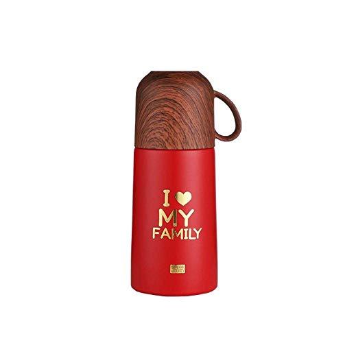 WLD Taza de viaje Taza de termo Cubierta de grano de madera Estampado en caliente Simple Inglés Taza de termo de acero inoxidable Una tapa Termo de doble propósito Termo portátil Rojo 280 ml