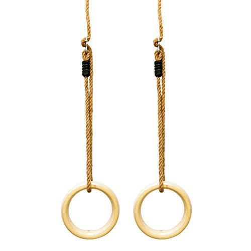 Woudi Anillos de gimnasia de madera, anillos de gimnasia, con cuerdas de...