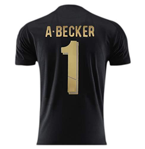 ANHPI-Jersey Alisson Becker # 1 Männer Fußballtrikot - Short Sleeve Sport Trikots T-Shirt-Fans T-Shirts (Color : A, Size : 100)