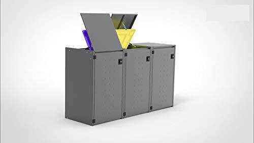 Reinkedesign Mülltonnenbox Boxxi mit Pultdach aus verzinktem Stahl in Anthrazit RAL 7016 als Bausatz (3 x 120l)