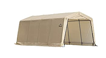ShelterLogic 10  x 15  x 8  All-Steel Metal Frame Peak Style Roof Instant Garage and AutoShelter with Waterproof and UV-Treated Ripstop Cover Sandstone