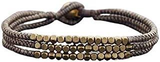 TazNha Brass Bell Wax Rope Handmade Woven Black Bracelet Women Ladies