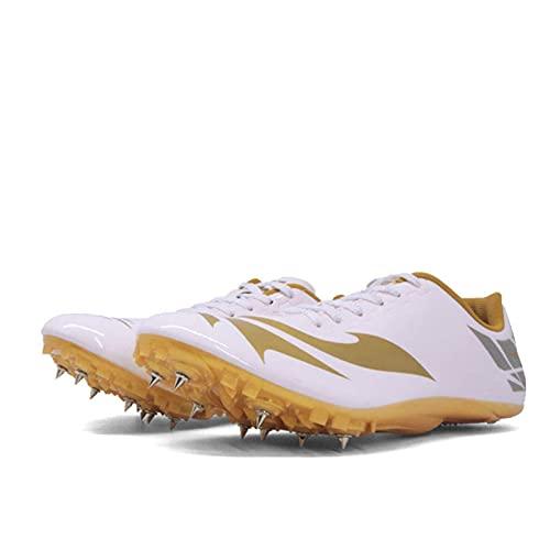 BLBK Zapatillas de correr para hombre, de media distancia, con 8 clavos, unisex, para atletismo, antideslizantes, con tacos y Sprint, color Dorado, talla 37 EU