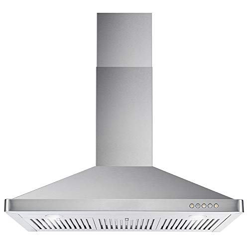 Cosmo 63190 36-in Wall-Mount Range Hood 760-CFM Ductless Convertible Duct, Kitchen Chimney-Style Over Stove Vent LED Light, 3 Speed Exhaust Fan, Permanent Filter (Stainless Steel)