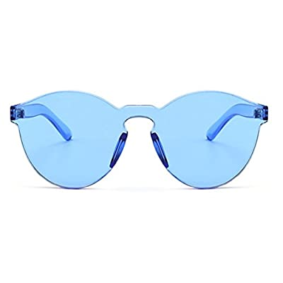 Armear Oversized One Piece Rimless Blue Tinted Sunglasses Clear Colored Lens 58mm