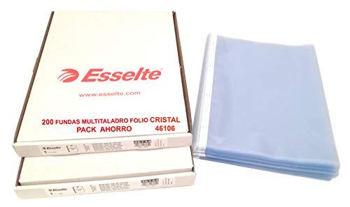 Fundas Multitaladro Cristal Tamaño Folio Esselte Referencia 46106 Pack Ahorro compuesto por 200 Hojas Multitaladro de Excelente Grosor y Durabilidad con capacidad para 50 folios dentro de cada una