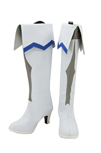 Telacos GGO Espada Art Online Anime Asuna Yuuki Cosplay Zapatos Botas de Color Blanco Custom Made, Blanco