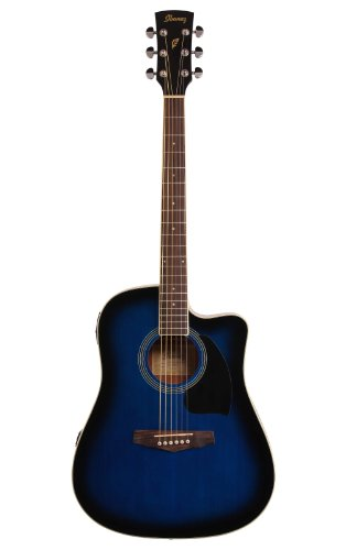 Ibanez Performance Series PF15 Cutaway Dreadnought Acoustic-Electric Guitar Transparent Blue Burst