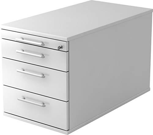 bümö® Rollcontainer 80 cm tief in Weiß mit 3 Schüben, Schloss & Schreibwaren Schublade   Bürocontainer aus Holz   Tischcontainer mit Rollen   Büro Container für Ihren Schreibtisch