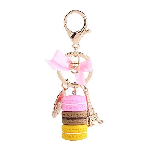 HEEPDD Cute Keychain, 4.72 inch Colorful Macaron Keychains with Mini Eiffel Tower Pendant Keyring for Car Key Handbag(Pink)