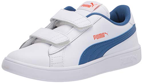 PUMA baby boys Puma Smash 2 Hook and Loop Sneaker, Puma Whitebright Cobalt-firecracker, 13 Little Kid US