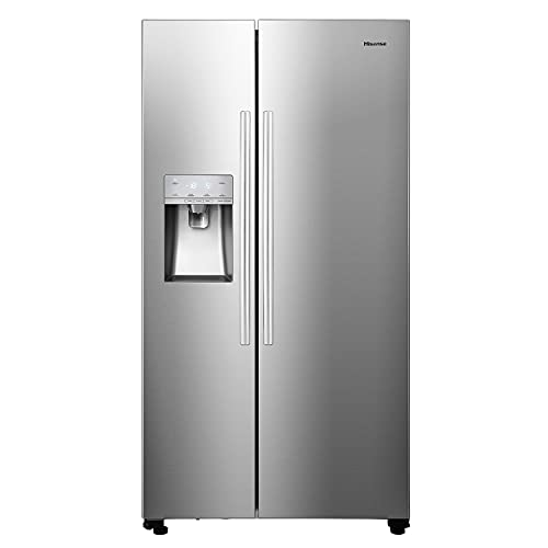 Hisense RS694N4ICF Freestanding American Fridge Freezer - Total No Frost - Plumbed Water and Ice Dispenser - Stainless Steel - F Rated