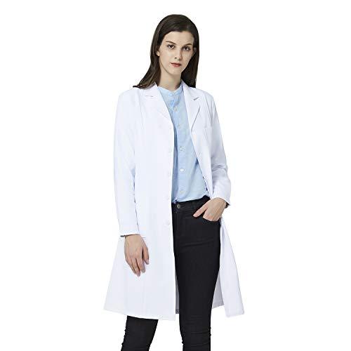 Bata de Laboratorio Blanca para Mujer, Bata de médico Profesional, Manga Larga, Ajuste clásico, 3 Bolsillos (Blanca, M)