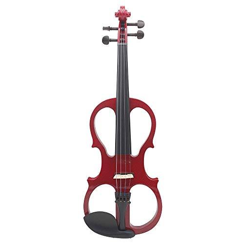 4/4 Madera Maciza Violín Eléctrico Blanco/Negro, Instrumento De Cuerda De Violín Accesorios...