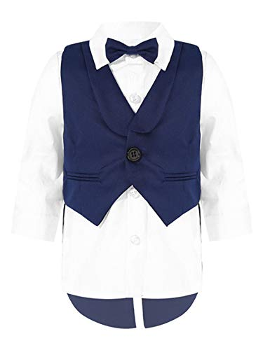 TiaoBug Baby Jungen Anzugweste Langarm Hemd Bluse mit Kentkragen Fliege Festlich Gentleman Anzug Geburtstag Hochzeits Outfits Dunkelblau 62-68