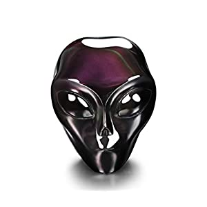Rainbow Obsidian Crystal Alien Skull, Hand Carved