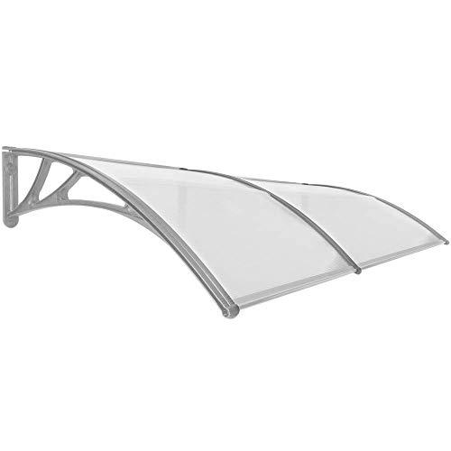 PrimeMatik - Tejadillo de protección 200x100cm Marquesina para Puertas y Ventanas Gris