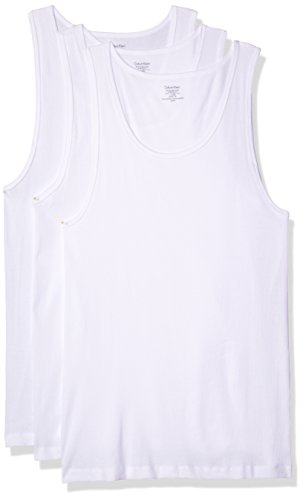 Calvin Klein Men's 3-Pack Cotton Classic Rib Tank Top, White, Medium