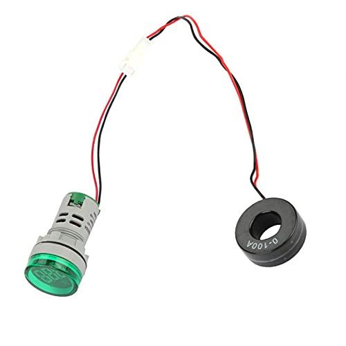 Amperímetro digital LED 0-100A Indicador de medidor de corriente CA Señal de luz de lámpara redonda LED 65-500 (V) Azul Blanco Rojo Verde Amarillo(Verde)