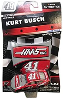 NASCAR Authentics Kurt Busch #41 Diecast Car 1/64 Scale - 2018 Wave 8 with Mini Hood - Collectible
