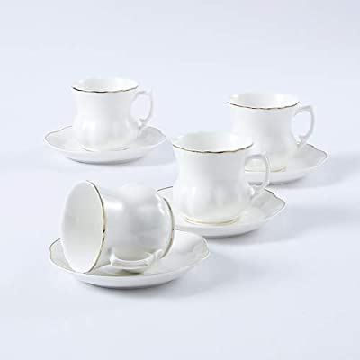 GuangYang Porcelain Tea Cups and Suacers,7ounces,Set of 4, White Cappucinuo coffee Cup with Saucer in Gift Box (Total 8 pieces)