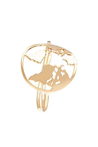 Córdoba Jewels   Sortija en Plata de Ley 925 bañada en Oro. Diseño Mapamundi Gold