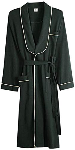 LMK Pijamas, camisón para hombre, bata de primavera y otoño, albornoz, pijamas de algodón de manga larga, ropa de dormir para el hogar, ropa de dormir Simp,Verde,L