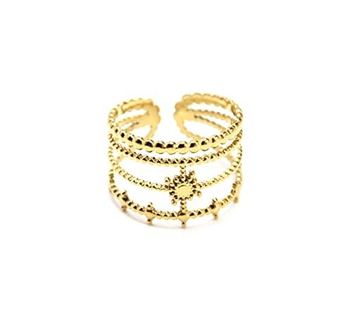 Oh My Shop BG1461 - Anillo ancho de cuatro filas con bolas y sol, acero dorado