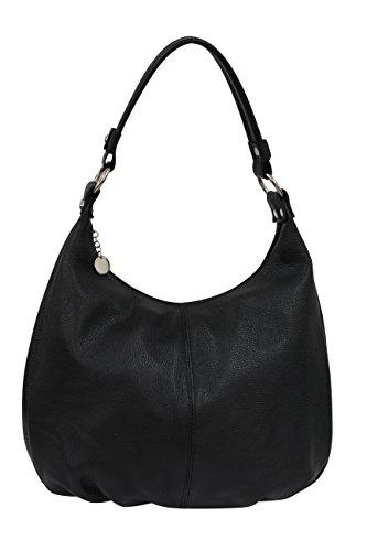 AMBRA Moda Damen Handtasche Echtleder Beutel Schultertasche Hobo Bags Shopper DIN-A4 GL001 (Schwarz)