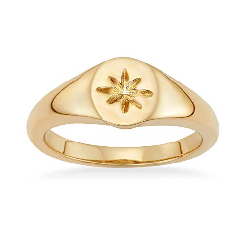 I'S ISAACSONG Dainty Gold Stacking Rings Set for Women, Stainless Steel Stackable Knuckle Midi Simple Band Rings for Teen Girls (Gold Signet Ring, 7)