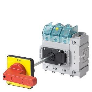 Siemens–Hauptschalter 4Polen vorne 4Löcher 3Polen Command rot/gelb