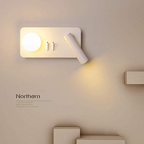 Pared con Una Pared De La Habitación Interruptor De La Lámpara De Lectura De Cabecera Moderno De La Pared del LED (Size : Quadrat)