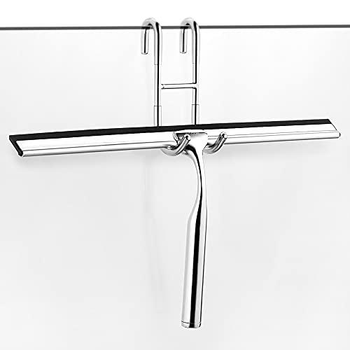 ecooe Edelstahl Duschwischer verlängert 31cm Duschabzieher Ohne Bohren Fensterabzieher mit Wandaufhänger Badezimmerwischer 2 Ersatzlippe Silikon Duschabzieher für Spiegel Fenster Glasreinigung…