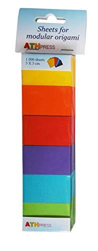 Modular Origami Hojas 6Colores Mezclados Grande Pack, Papel, Amarillo, Naranja, Rojo, Violeta, Azul Verde Primavera