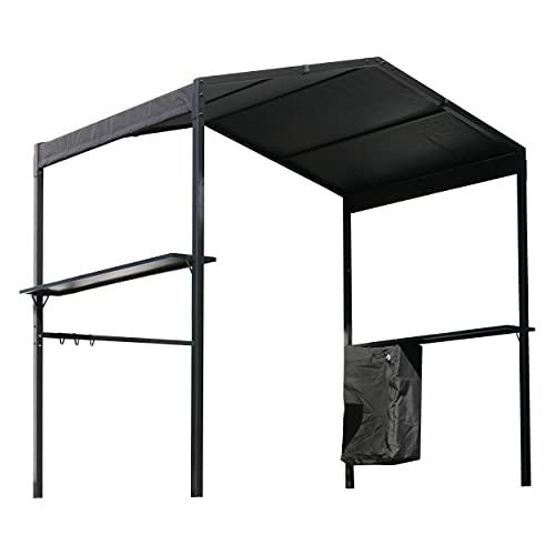 Oviala Tonnelle pour Barbecue Noir Rectangulaire 252 x 150 x 220 cm Acier Solys