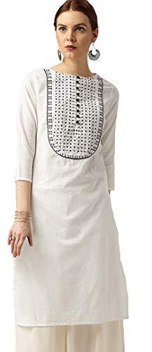 Amayra Women's Cotton Straight Embroidery Kurti