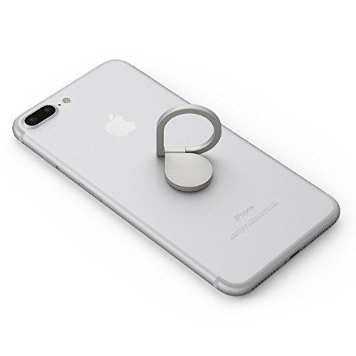 Kronya - Soporte de Dedo Giratorio para teléfono Inteligente de 360 Grados - Compatible con Apple iPhone Samsung Galaxy - Modelo MTKAB (Plata)