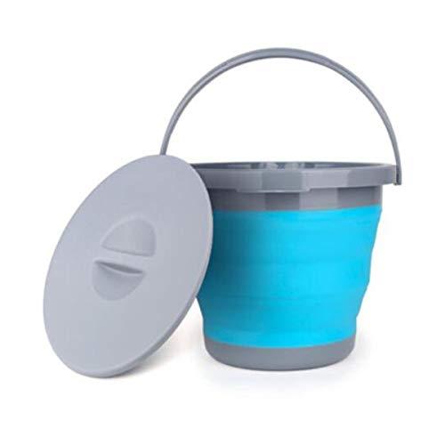 XSWY Faltbarer Eimer, zusammenklappbar, tragbar, für den Haushalt, Multifunktions-Wascheimer, für den Außenbereich, Autowäsche, Angeleier, Kapazität 5 l, Grün, Blau, Blue with Cover, 25 * 16 * 20cm