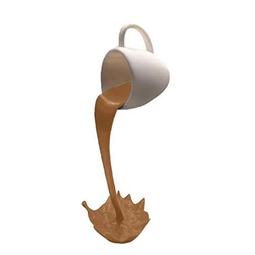 Ohomr Taza suspendida, Escultura de Resina Divertido Líquido de Colada Flotante de la Taza de café, la decoración del hogar Adornos de cumpleaños Regalo de la Madre (Brown)