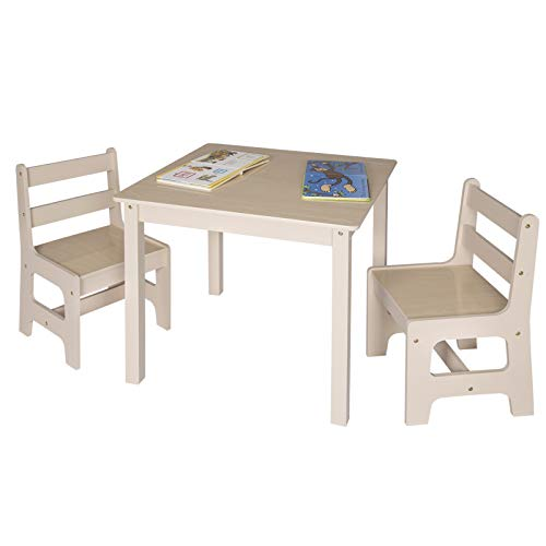 WOLTU Toddler Table and Chairs Sets Children's Desk Table with 2 Chairs Stools Set for Preschoolers Boys and Girls Activity Build & Play Table Chair Nature Set Wooden SG001