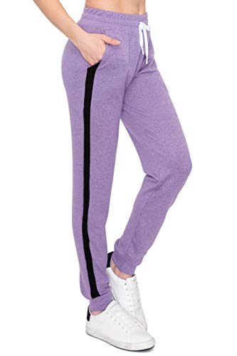 ALWAYS Women's Hacci Jogger Sweatpants - Knitted Premium Soft Comfortable Stretch Striped Lounge Pants Lavender M
