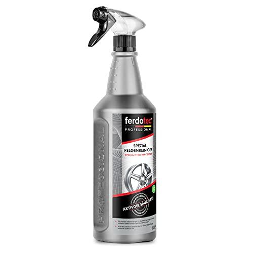 ferdotec Limpiador de llantas de 1000 ml con indicador de color | Limpiador especial para llantas de aluminio, llantas pintadas y llantas de acero | Cuidado profesional de llantas activo sin ácidos
