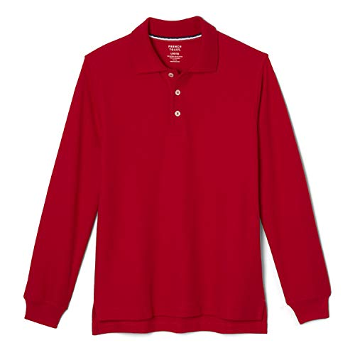 French Toast Boys' Little Long Sleeve Pique Polo Shirt (Standard & Husky), Red, 6-7