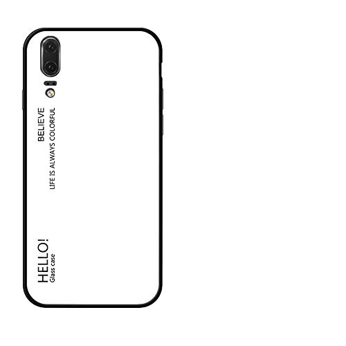 BestCatgift Glare Series P20 Phone Cover Accessories [Glass Shell][Gradient Custodia] Bumper Shockproof per Huawei P20 - White